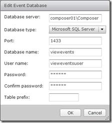 6. Edit Events Database Settings