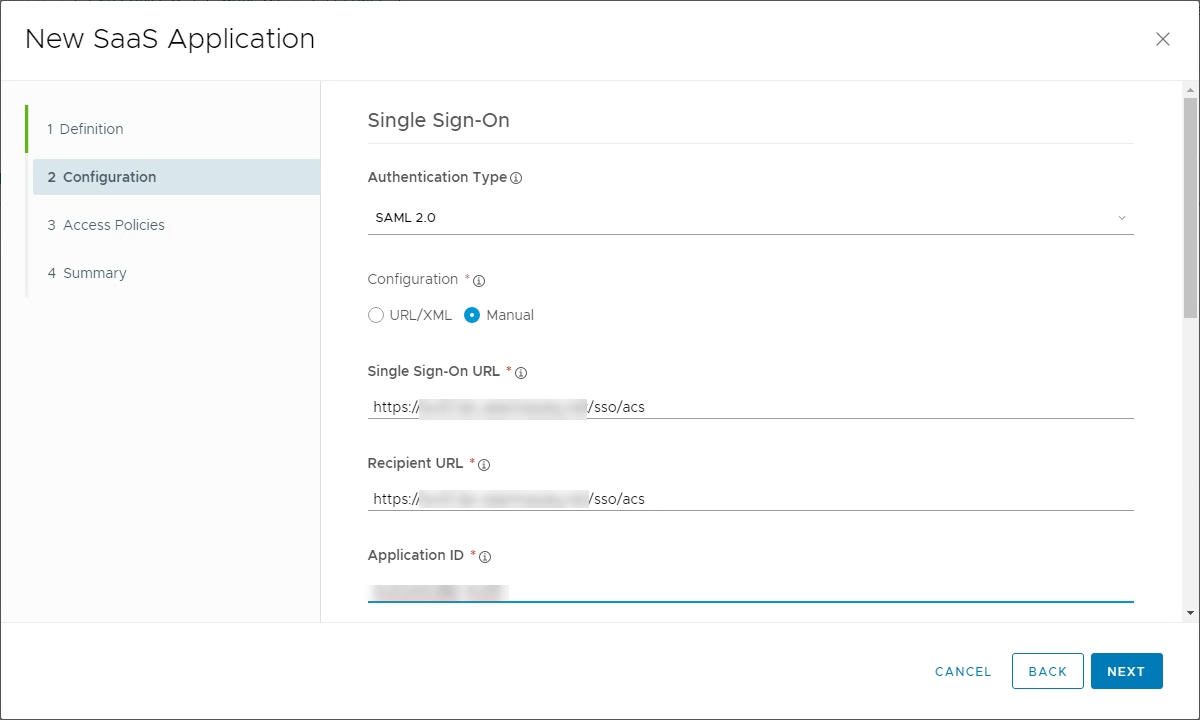 15a. WS1 New SaaS App Configuration