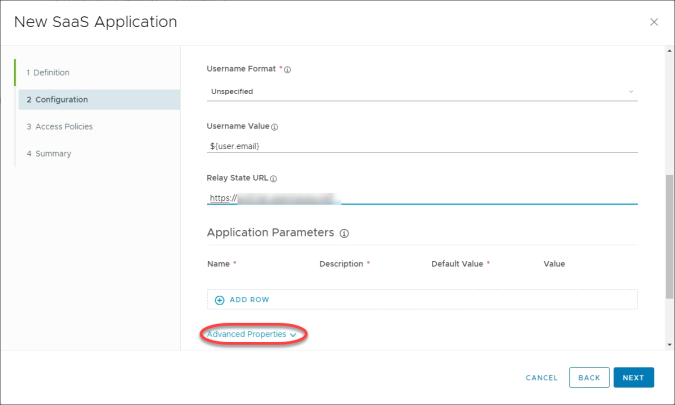 15b. WS1 New SaaS App Configuration