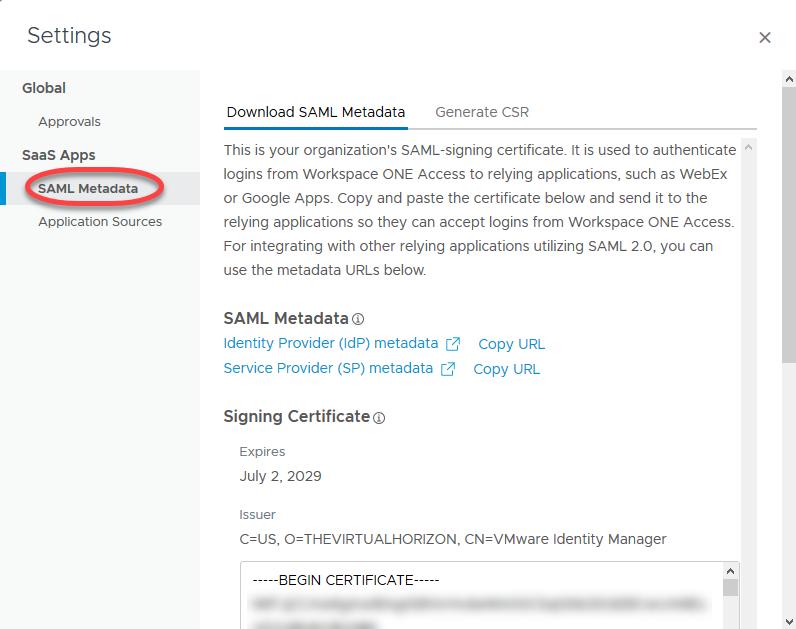7b. idp metadata WS1 Catalog Settings idp
