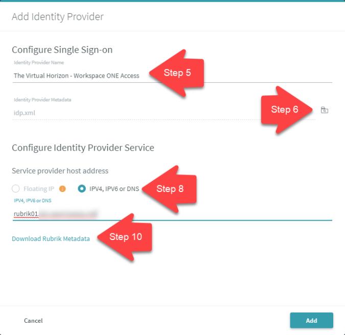 4. Rubrik Identity Provider Config