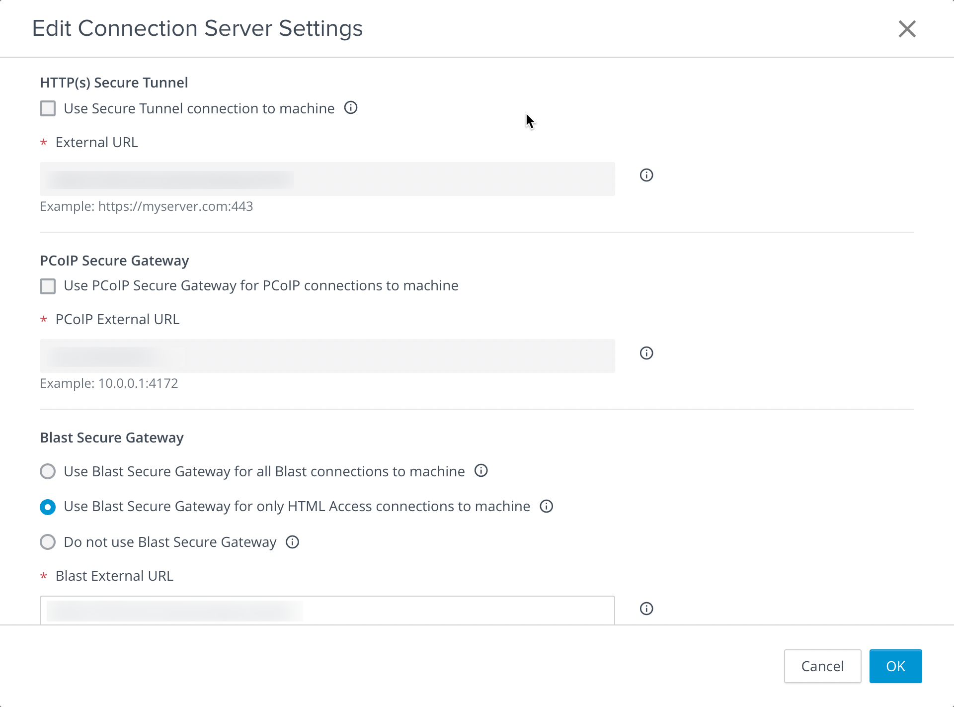 Connection Server Settings